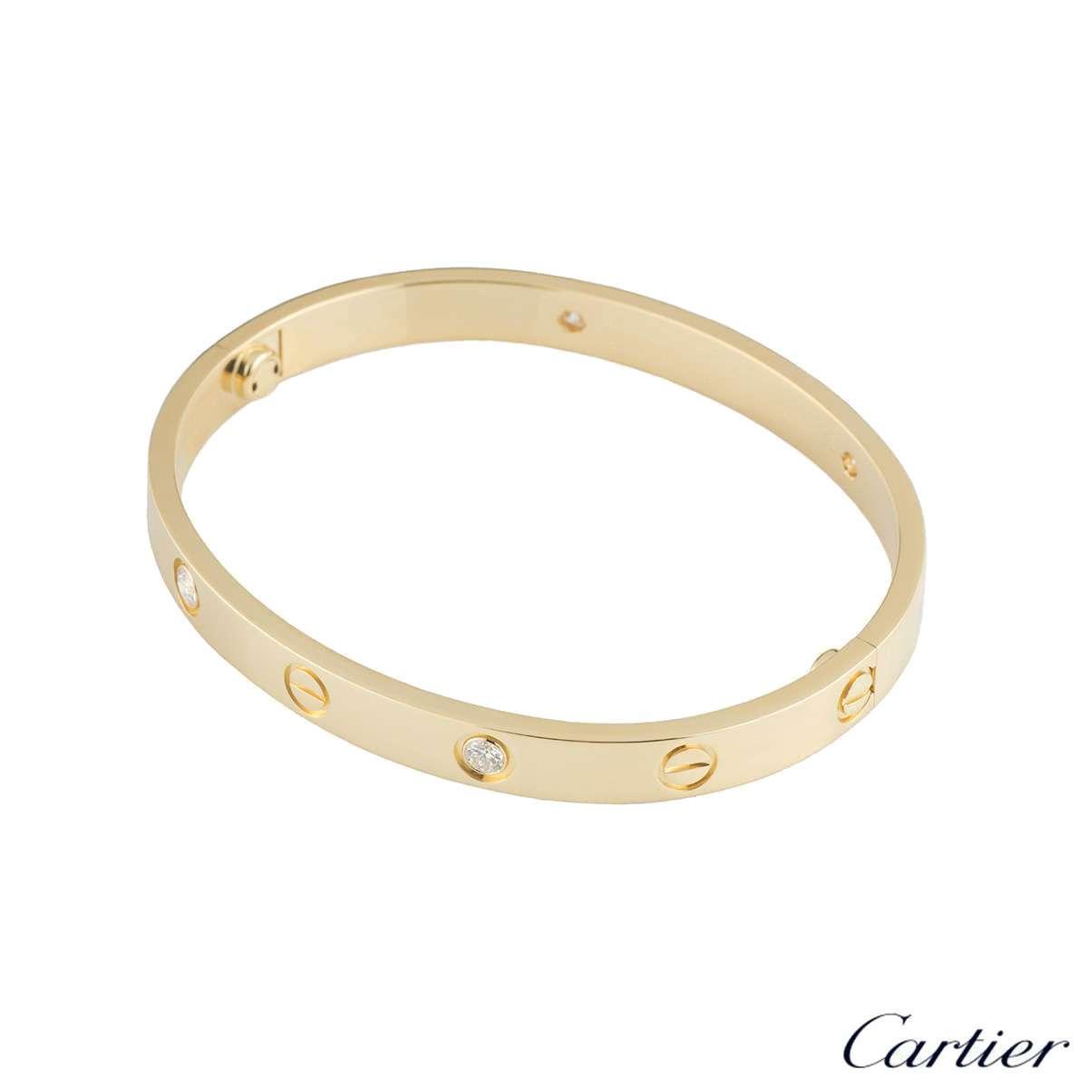 Cartier Yellow Gold Half Diamond Love Bracelet Size 18 B6035918